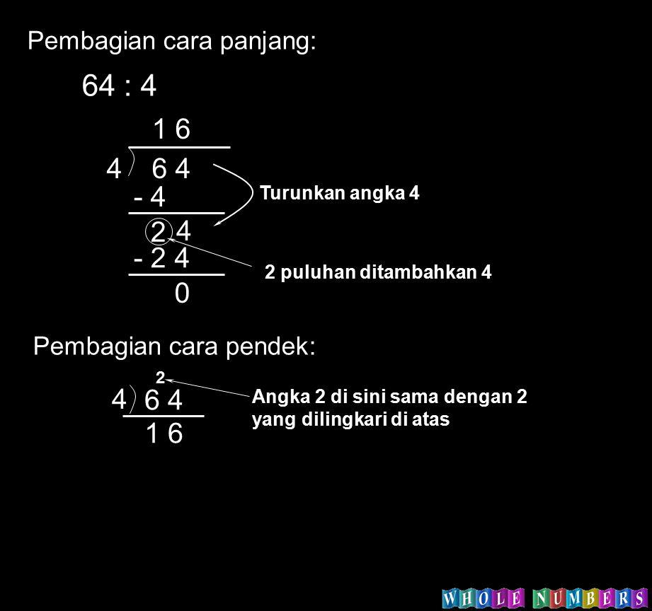 64 : 4 2 puluhan ditambahkan 4 46 4 1 6 - 4 2 4 - 24 0 Turunkan angka 4 Pembagian cara panjang: Pembagian cara pendek: 4 6 4 1 6 2 Angka 2 di sini sam