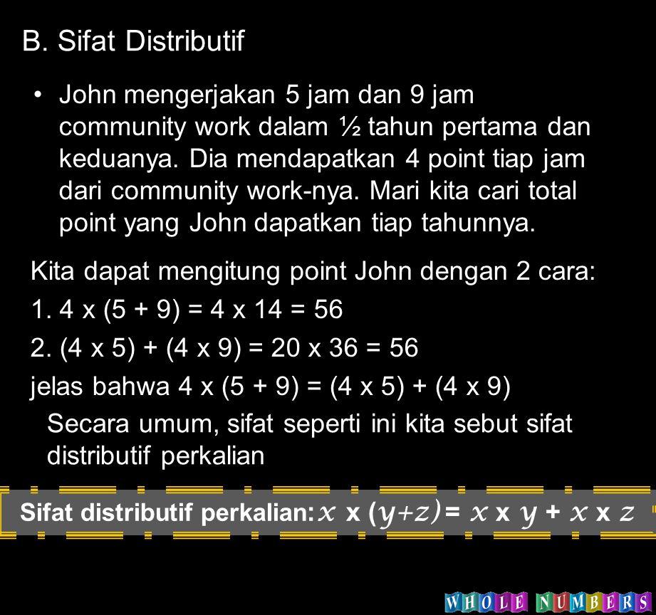 John mengerjakan 5 jam dan 9 jam community work dalam ½ tahun pertama dan keduanya. Dia mendapatkan 4 point tiap jam dari community work-nya. Mari kit