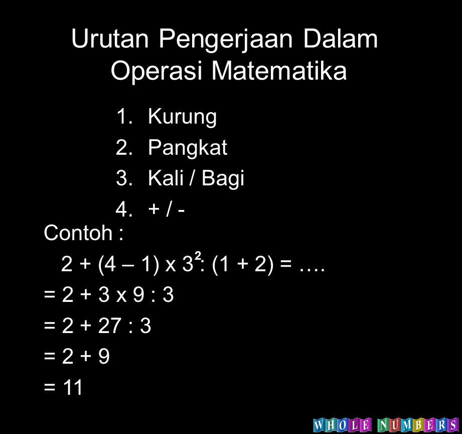Urutan Pengerjaan Dalam Operasi Matematika 1.Kurung 2.Pangkat 3.Kali / Bagi 4.+ / - Contoh : 2 + (4 – 1) x 3 : (1 + 2) = …. = 2 + 3 x 9 : 3 = 2 + 27 :