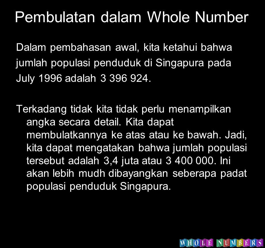 Pembulatan dalam Whole Number Dalam pembahasan awal, kita ketahui bahwa jumlah populasi penduduk di Singapura pada July 1996 adalah 3 396 924. Terkada