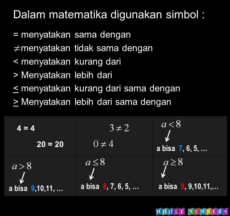 Dalam matematika digunakan simbol : = menyatakan sama dengan menyatakan tidak sama dengan < menyatakan kurang dari > Menyatakan lebih dari < menyataka