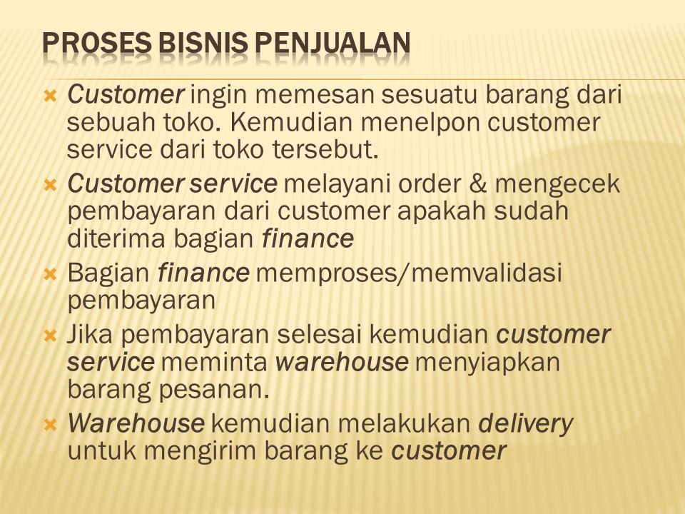  Customer ingin memesan sesuatu barang dari sebuah toko. Kemudian menelpon customer service dari toko tersebut.  Customer service melayani order & m