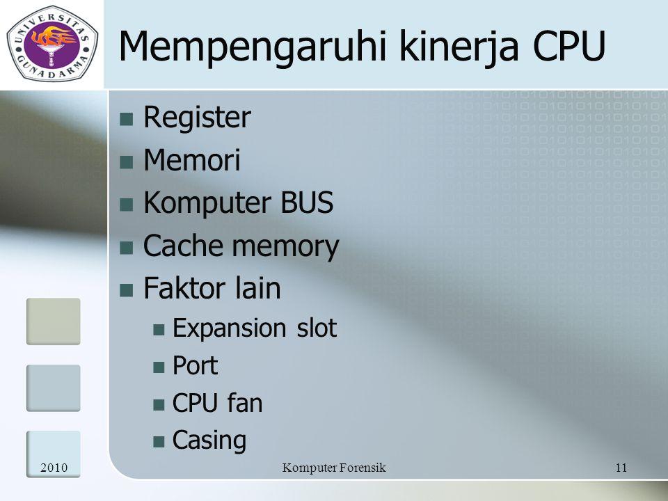 Mempengaruhi kinerja CPU Register Memori Komputer BUS Cache memory Faktor lain Expansion slot Port CPU fan Casing 201011Komputer Forensik