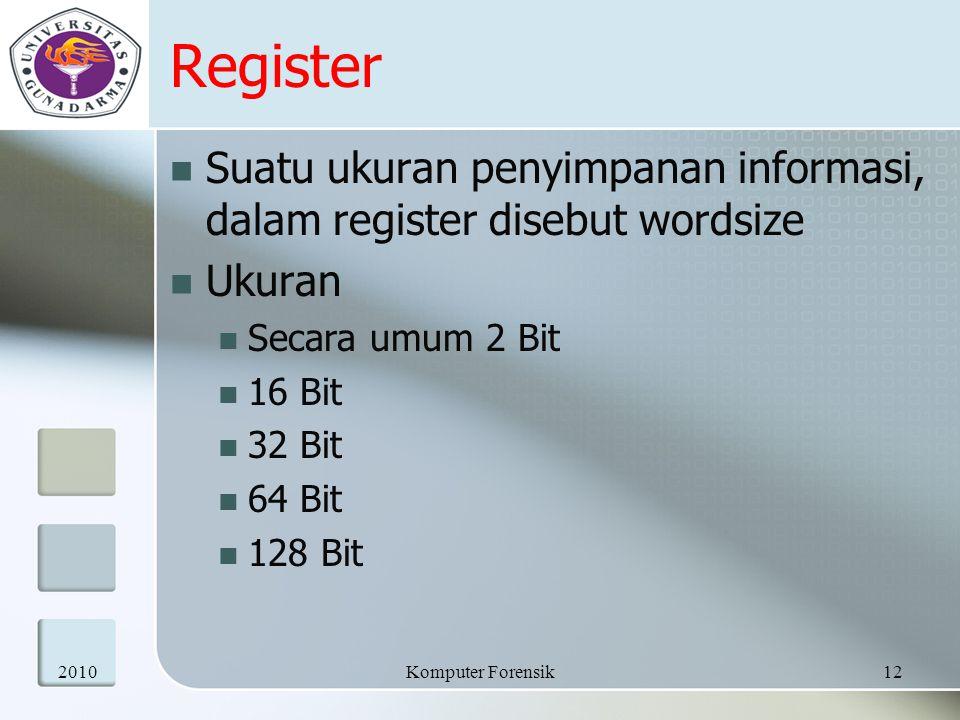 Register Suatu ukuran penyimpanan informasi, dalam register disebut wordsize Ukuran Secara umum 2 Bit 16 Bit 32 Bit 64 Bit 128 Bit 201012Komputer Fore