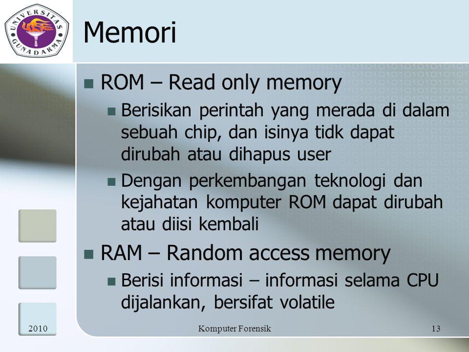 Memori ROM – Read only memory Berisikan perintah yang merada di dalam sebuah chip, dan isinya tidk dapat dirubah atau dihapus user Dengan perkembangan
