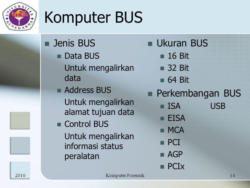 Komputer BUS Jenis BUS Data BUS Untuk mengalirkan data Address BUS Untuk mengalirkan alamat tujuan data Control BUS Untuk mengalirkan informasi status