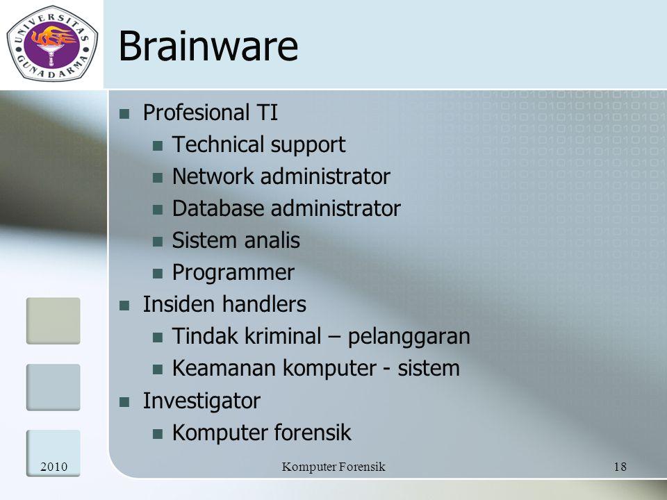Brainware Profesional TI Technical support Network administrator Database administrator Sistem analis Programmer Insiden handlers Tindak kriminal – pe