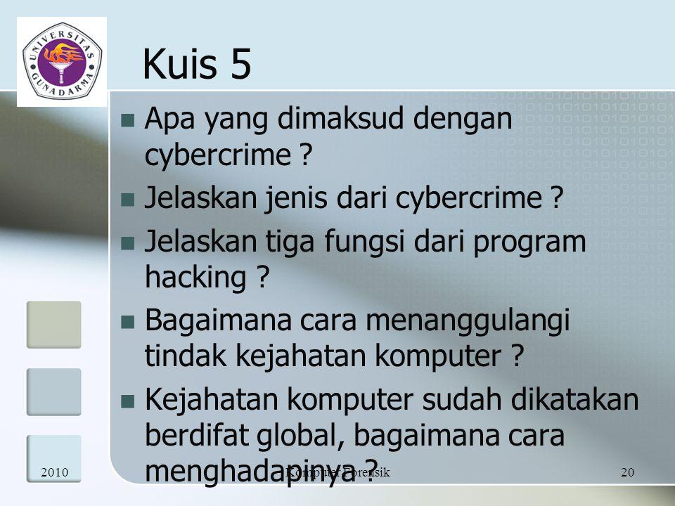 Apa yang dimaksud dengan cybercrime ? Jelaskan jenis dari cybercrime ? Jelaskan tiga fungsi dari program hacking ? Bagaimana cara menanggulangi tindak