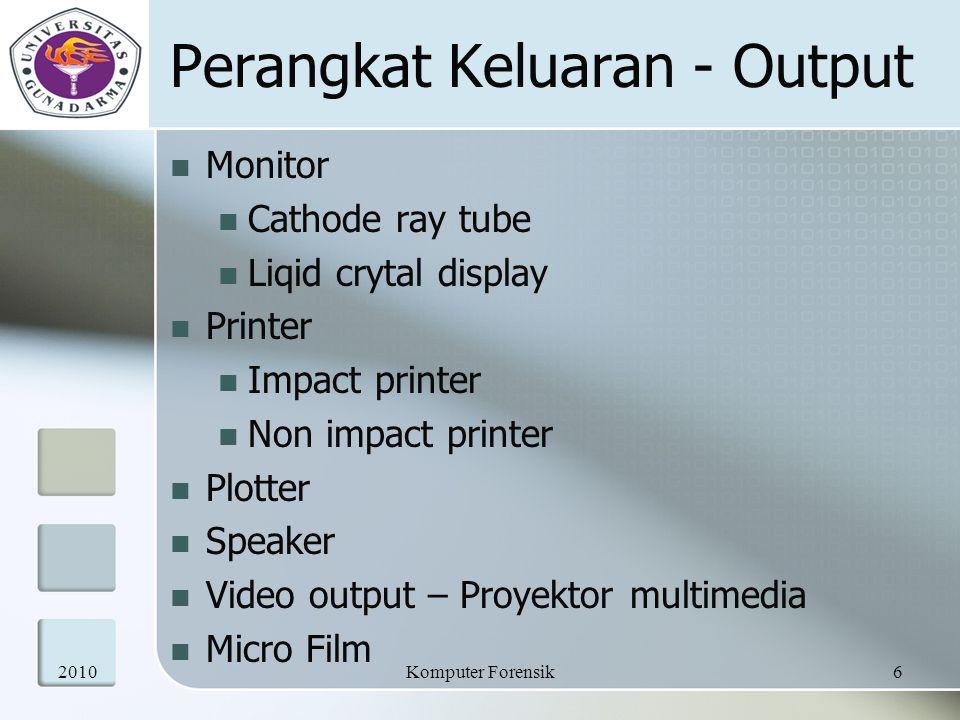 Perangkat Keluaran - Output Monitor Cathode ray tube Liqid crytal display Printer Impact printer Non impact printer Plotter Speaker Video output – Pro