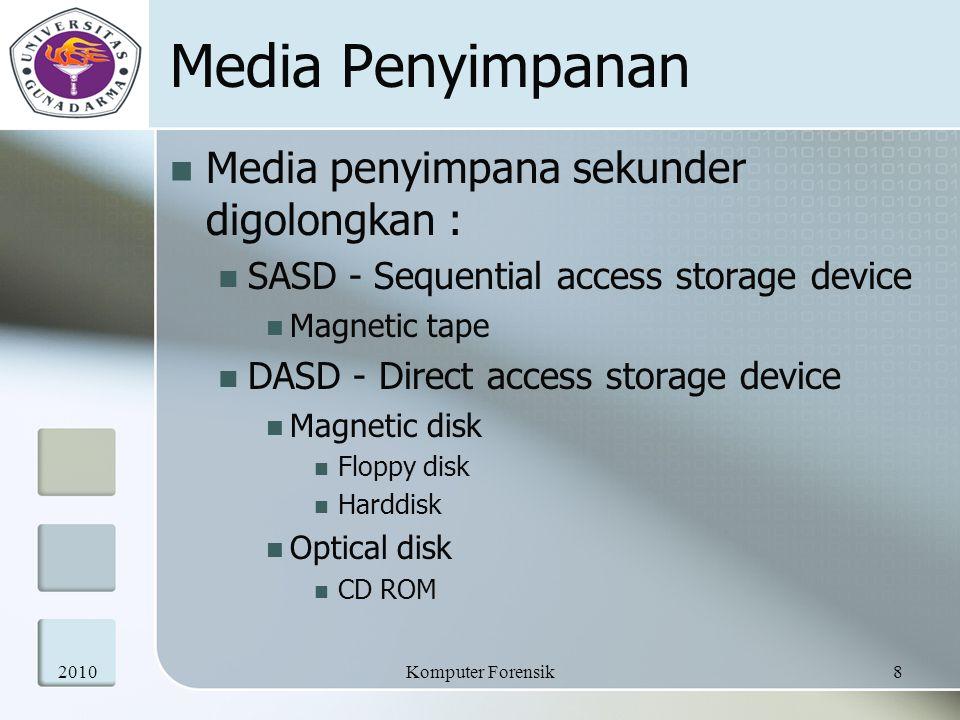 Media Penyimpanan Media penyimpana sekunder digolongkan : SASD - Sequential access storage device Magnetic tape DASD - Direct access storage device Ma