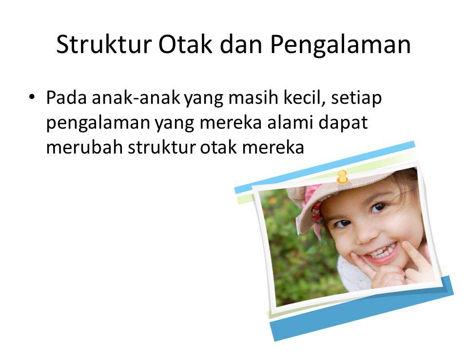 Struktur Otak dan Pengalaman Pada anak-anak yang masih kecil, setiap pengalaman yang mereka alami dapat merubah struktur otak mereka