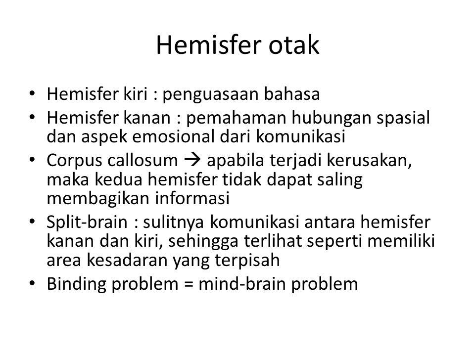 Hemisfer otak Hemisfer kiri : penguasaan bahasa Hemisfer kanan : pemahaman hubungan spasial dan aspek emosional dari komunikasi Corpus callosum  apab