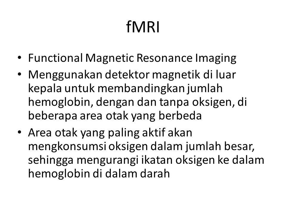 fMRI Functional Magnetic Resonance Imaging Menggunakan detektor magnetik di luar kepala untuk membandingkan jumlah hemoglobin, dengan dan tanpa oksige