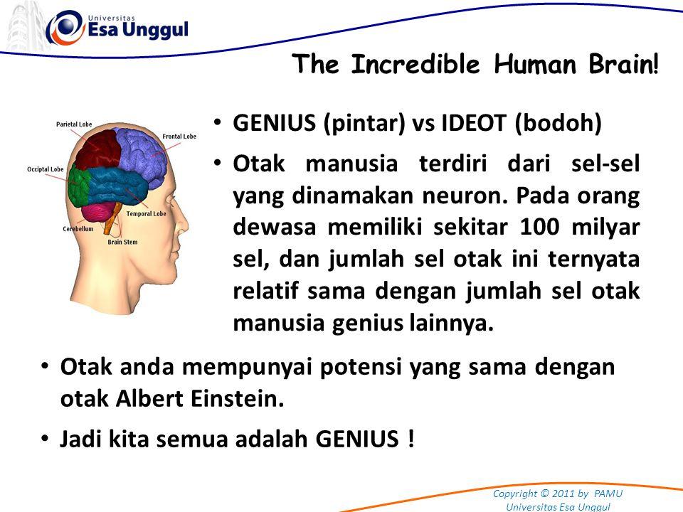 Copyright © 2011 by PAMU Universitas Esa Unggul Pikiran bawah sadar (subconscious) Pikiran sadar (conscious) Pikiran kita seperti Gunung Es KEKUATAN PIKIRAN (Conscious & Subconscious Mind) Kapasitas Potensi Otak Manusia :  Pikiran sadar: 12 %  Pikiran bawah sadar: 88 % Manusia rata-rata hanya menggunakan kapasitas otaknya kurang dari 4 %.