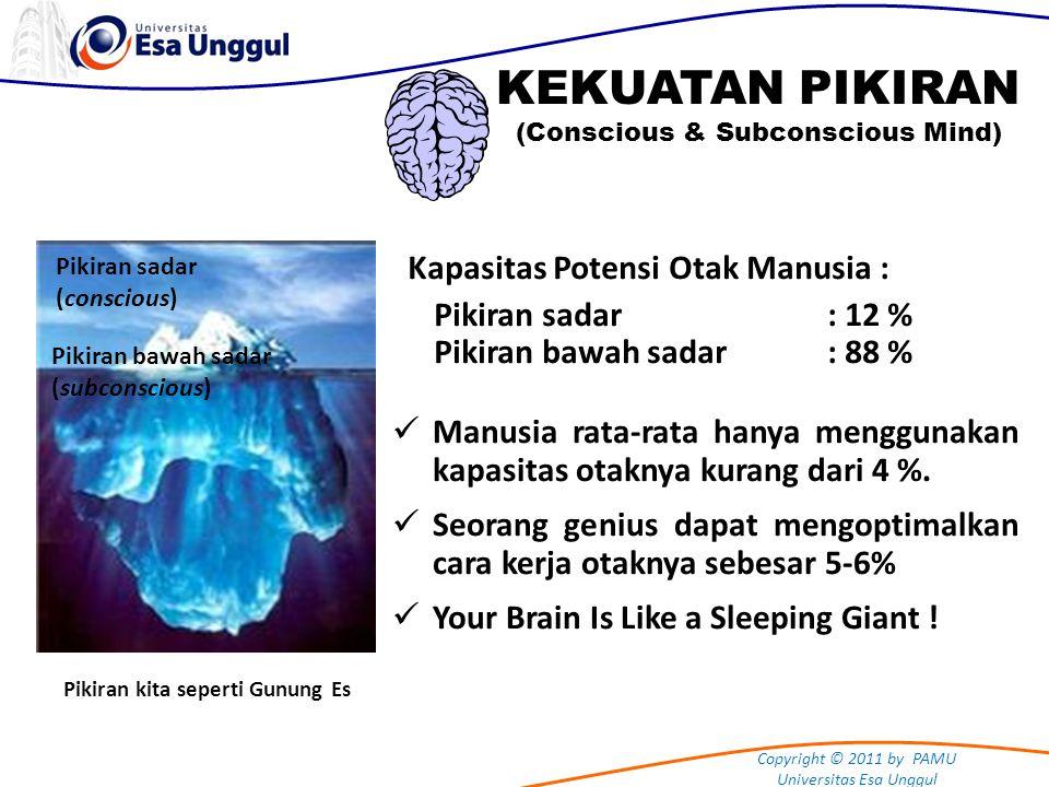 Copyright © 2011 by PAMU Universitas Esa Unggul KEKUATAN PIKIRAN (Conscious & Subconscious Mind) Pikiran sadar : adalah keadaan dimana kita aktif bertindak.