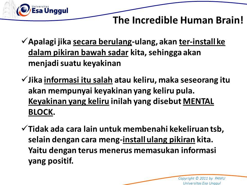 Copyright © 2011 by PAMU Universitas Esa Unggul The Incredible Human Brain! Apalagi jika secara berulang-ulang, akan ter-install ke dalam pikiran bawa