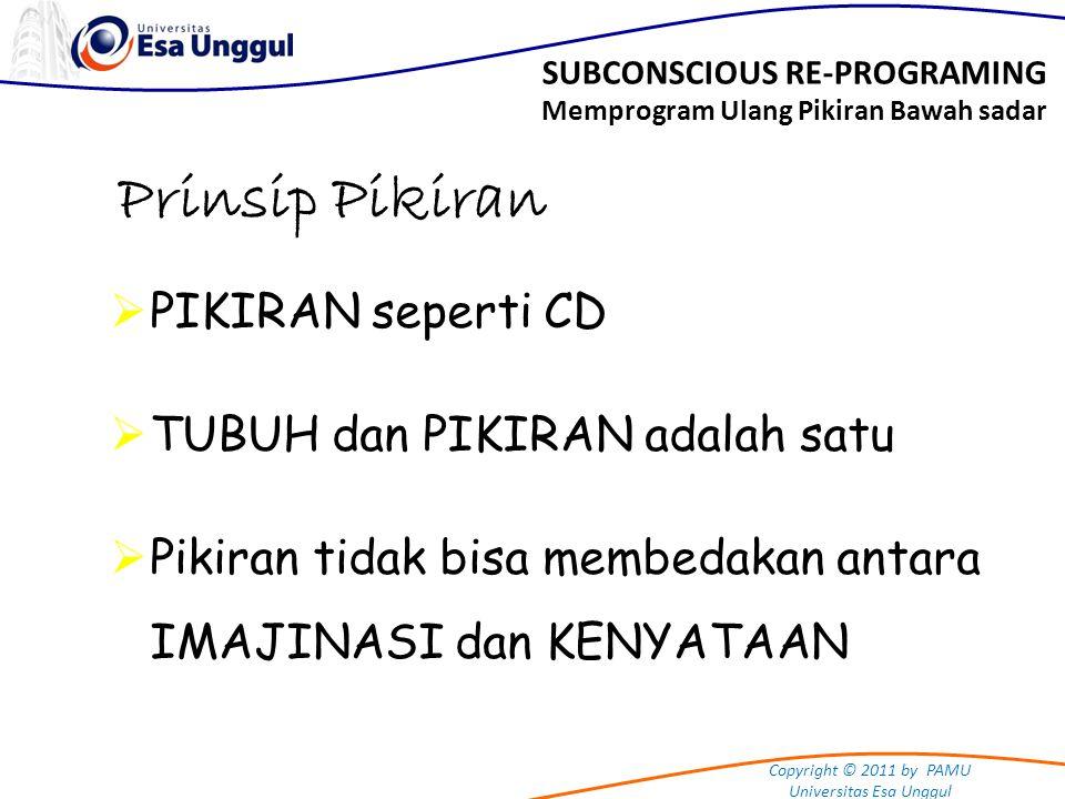 Copyright © 2011 by PAMU Universitas Esa Unggul Prinsip Pikiran  PIKIRAN seperti CD  TUBUH dan PIKIRAN adalah satu  Pikiran tidak bisa membedakan a