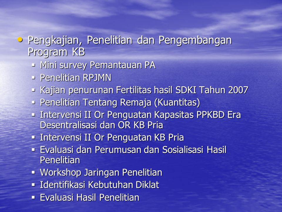 Pengkajian, Penelitian dan Pengembangan Program KB Pengkajian, Penelitian dan Pengembangan Program KB  Mini survey Pemantauan PA  Penelitian RPJMN 
