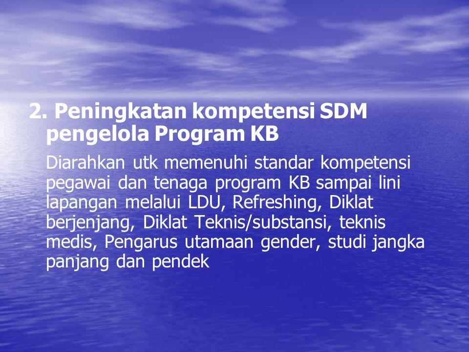 2. Peningkatan kompetensi SDM pengelola Program KB Diarahkan utk memenuhi standar kompetensi pegawai dan tenaga program KB sampai lini lapangan melalu