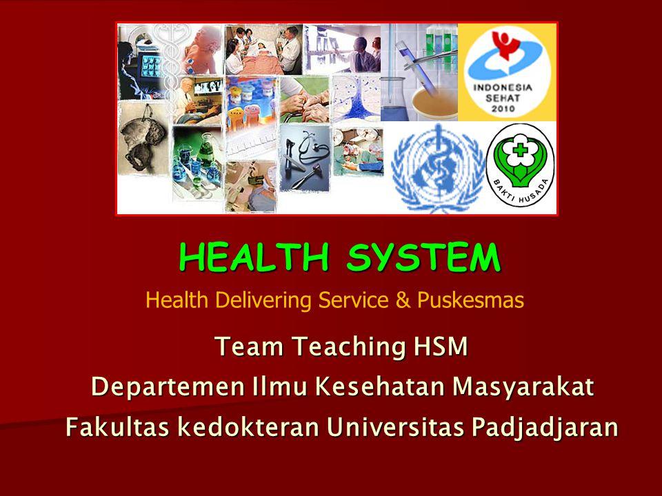 HEALTH SYSTEM Team Teaching HSM Departemen Ilmu Kesehatan Masyarakat Fakultas kedokteran Universitas Padjadjaran Health Delivering Service & Puskesmas