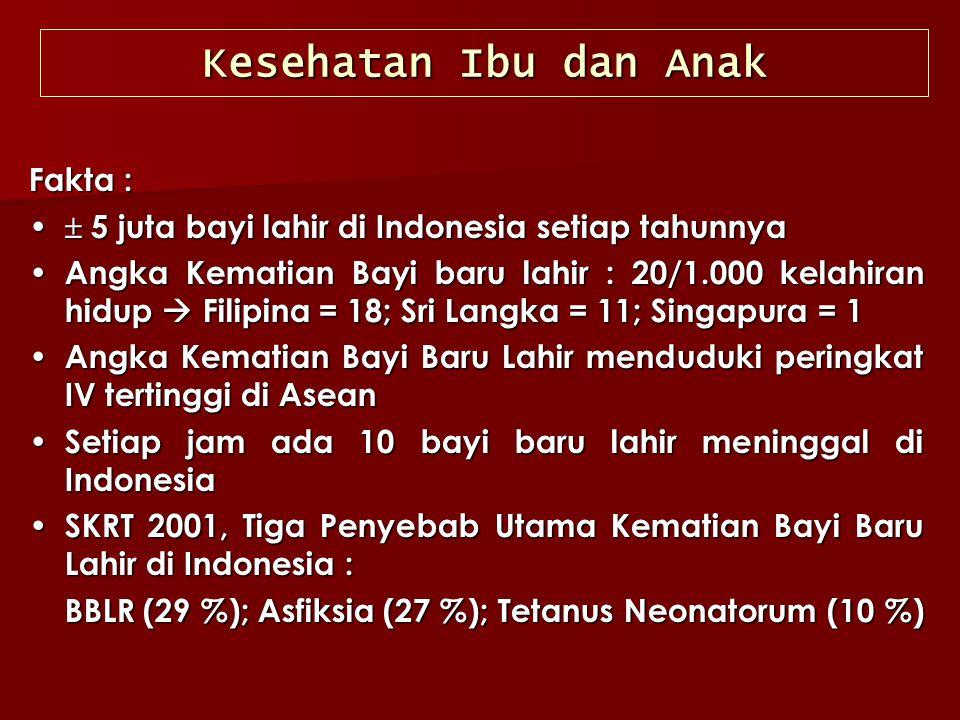 Kesehatan Ibu dan Anak Fakta :  5 juta bayi lahir di Indonesia setiap tahunnya  5 juta bayi lahir di Indonesia setiap tahunnya Angka Kematian Bayi b