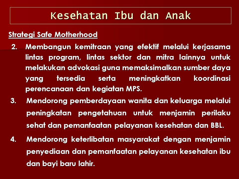 Strategi Safe Motherhood 2.Membangun kemitraan yang efektif melalui kerjasama lintas program, lintas sektor dan mitra lainnya untuk melakukan advokasi