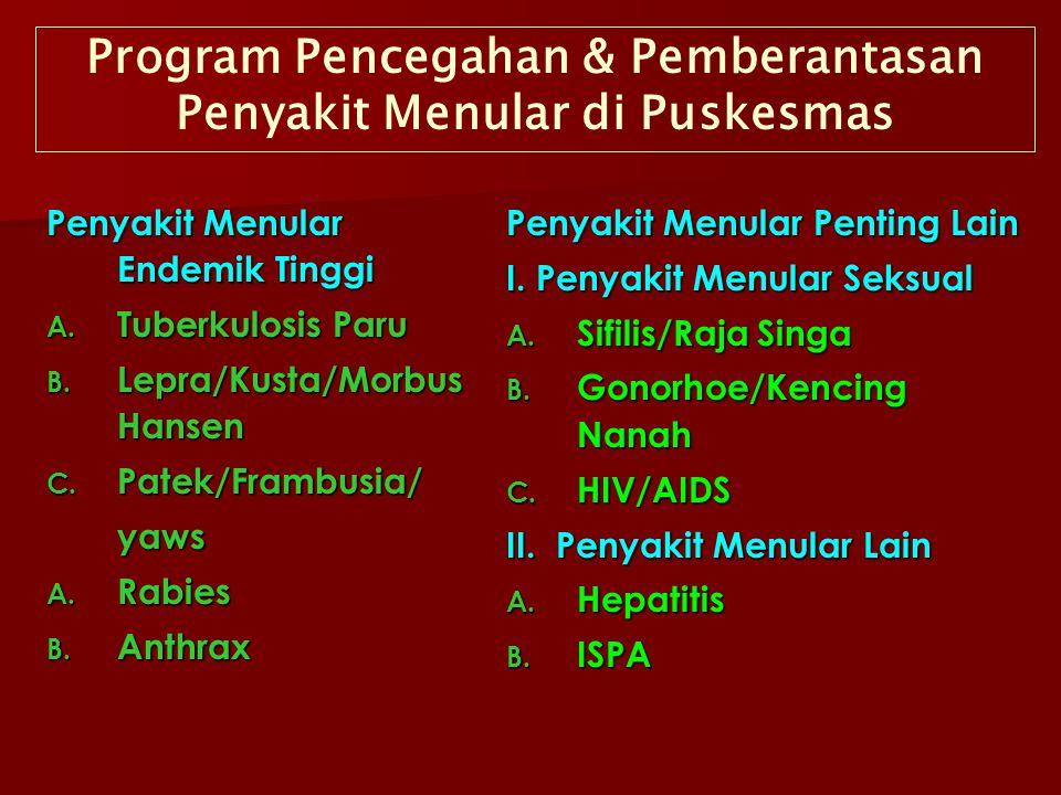 Program Pencegahan & Pemberantasan Penyakit Menular di Puskesmas Penyakit Menular Endemik Tinggi A. Tuberkulosis Paru B. Lepra/Kusta/Morbus Hansen C.