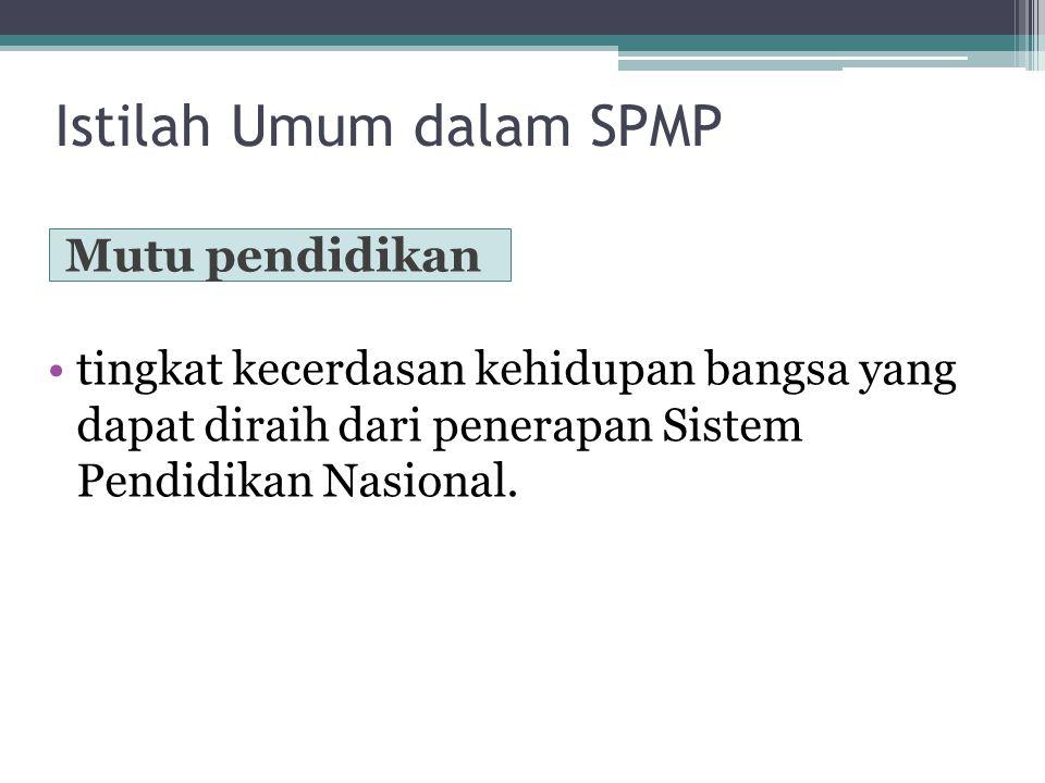 Istilah Umum dalam SPMP Mutu pendidikan tingkat kecerdasan kehidupan bangsa yang dapat diraih dari penerapan Sistem Pendidikan Nasional.