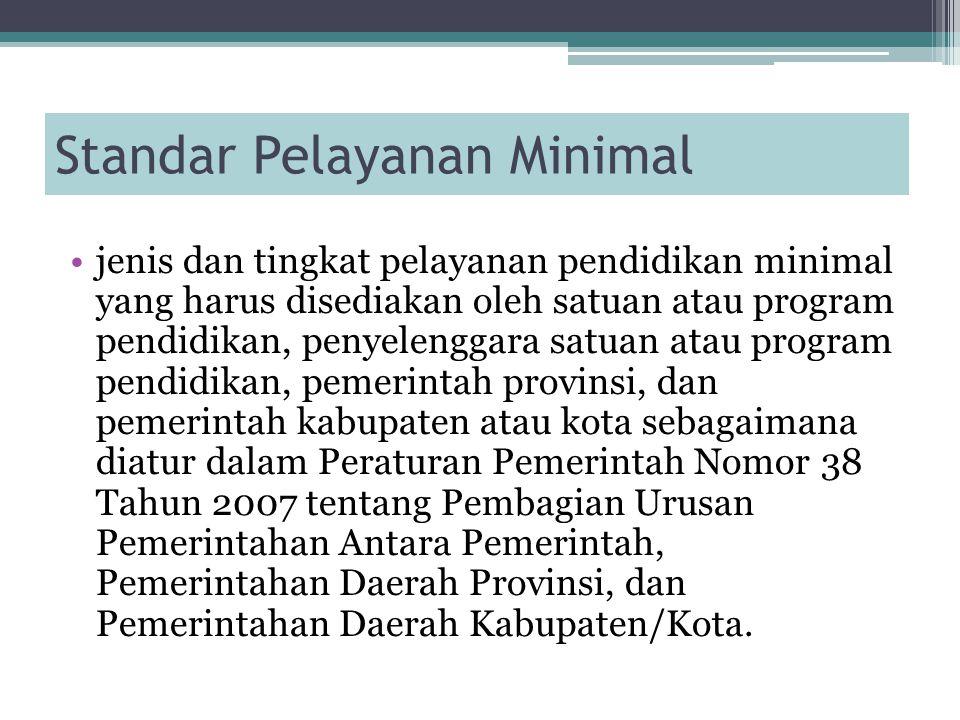 Standar Pelayanan Minimal jenis dan tingkat pelayanan pendidikan minimal yang harus disediakan oleh satuan atau program pendidikan, penyelenggara satu