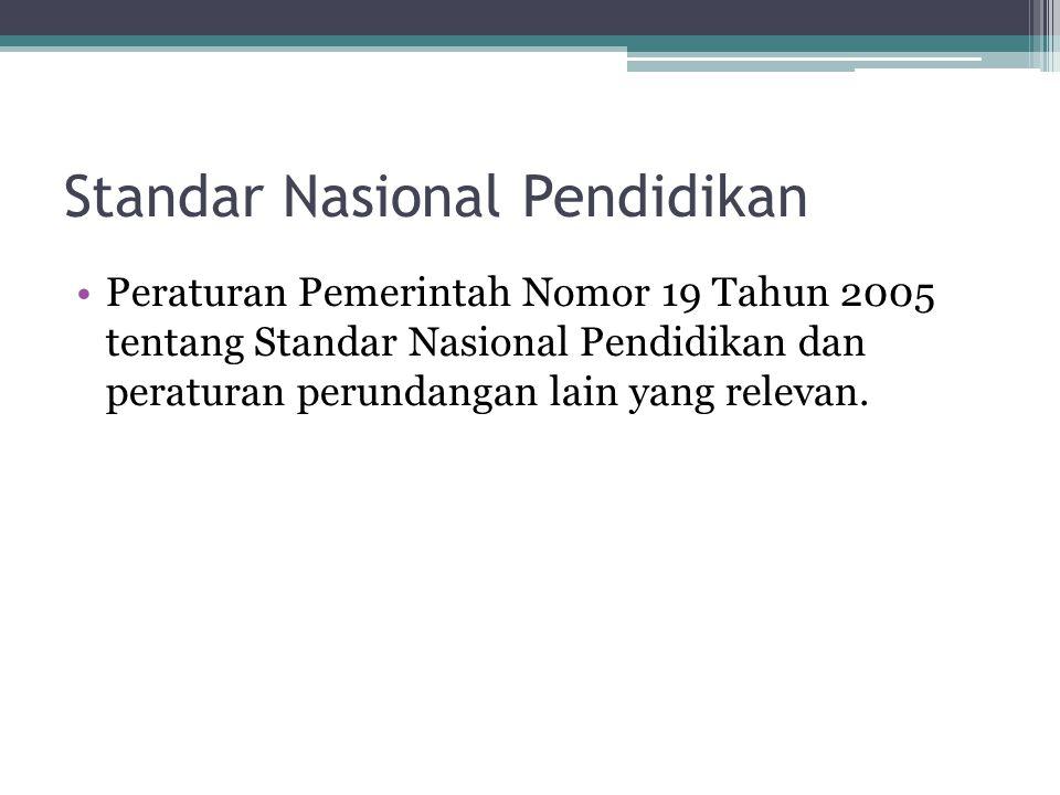 Standar Nasional Pendidikan Peraturan Pemerintah Nomor 19 Tahun 2005 tentang Standar Nasional Pendidikan dan peraturan perundangan lain yang relevan.