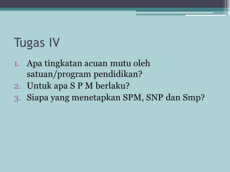 Tugas IV 1.Apa tingkatan acuan mutu oleh satuan/program pendidikan? 2.Untuk apa S P M berlaku? 3.Siapa yang menetapkan SPM, SNP dan Smp?