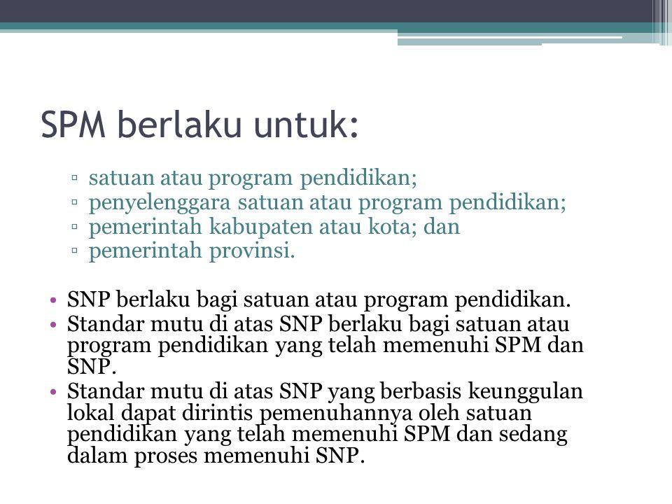 SPM berlaku untuk: ▫satuan atau program pendidikan; ▫penyelenggara satuan atau program pendidikan; ▫pemerintah kabupaten atau kota; dan ▫pemerintah pr