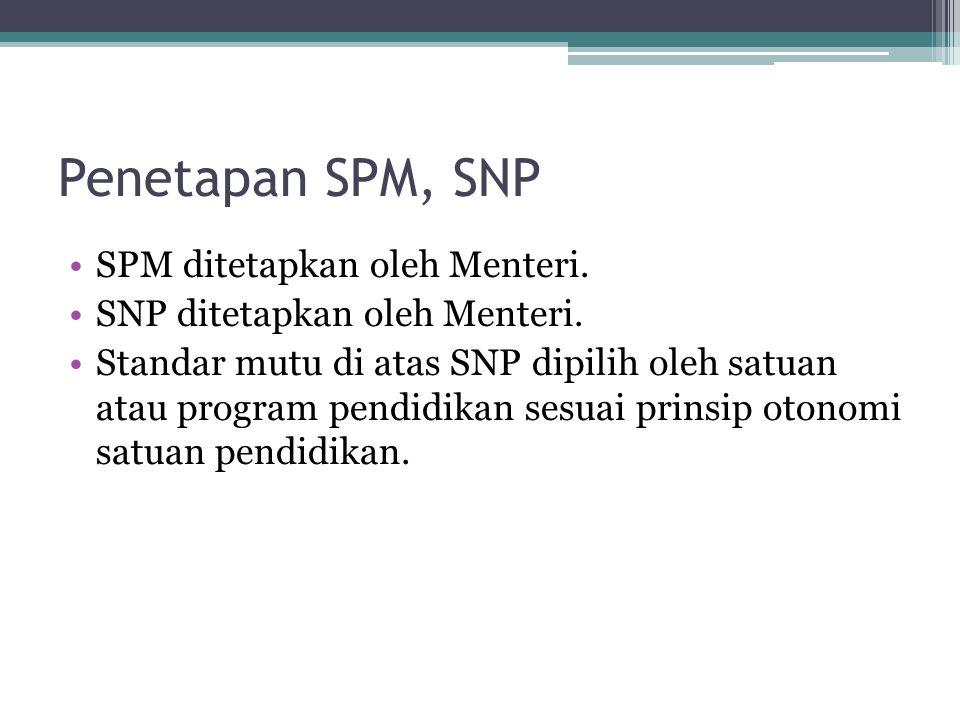 Penetapan SPM, SNP SPM ditetapkan oleh Menteri. SNP ditetapkan oleh Menteri. Standar mutu di atas SNP dipilih oleh satuan atau program pendidikan sesu