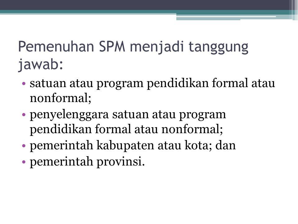 Pemenuhan SPM menjadi tanggung jawab: satuan atau program pendidikan formal atau nonformal; penyelenggara satuan atau program pendidikan formal atau n