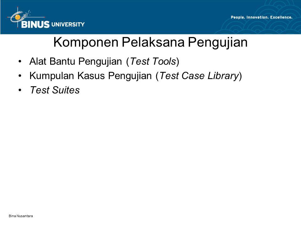 Bina Nusantara Komponen Pelaksana Pengujian Alat Bantu Pengujian (Test Tools) Kumpulan Kasus Pengujian (Test Case Library) Test Suites
