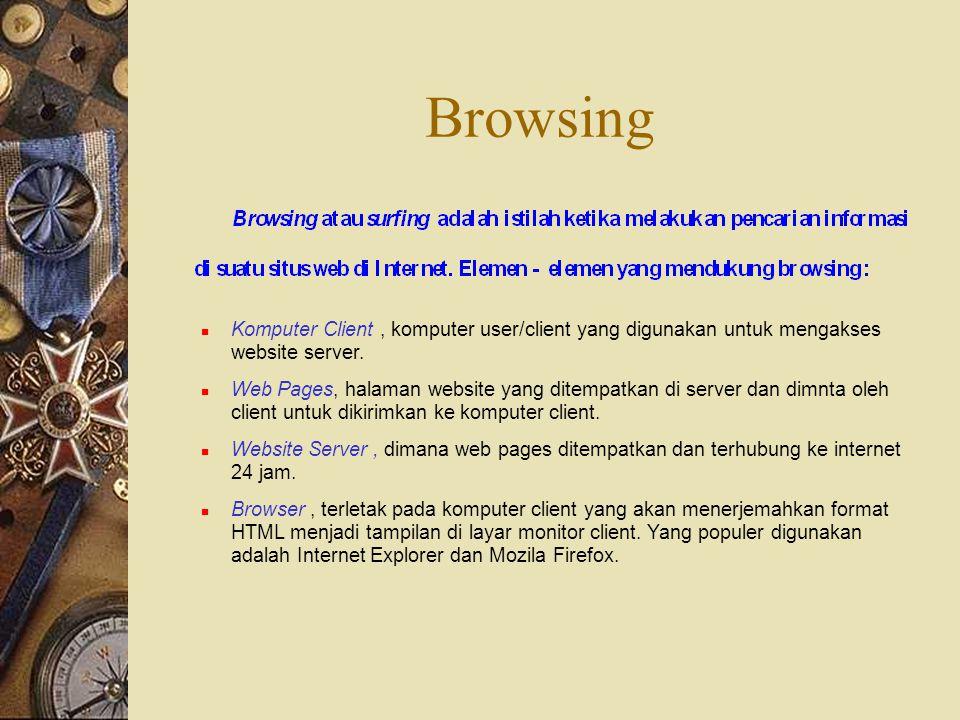 Browsing Komputer Client, komputer user/client yang digunakan untuk mengakses website server. Web Pages, halaman website yang ditempatkan di server da