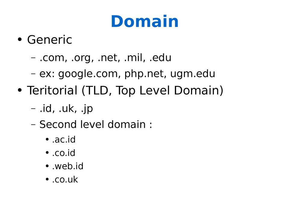 Domain Generik (1 dot nama bidang saja)  www.nama_perusahaan.com(diperuntukkan untuk perusahaan/company)  www.nama_organisasi.org diperuntukan untuk organisasi/yayasan)  www.nama_akademi.edu (diperuntukan untuk akademi/universitas)  www.nama_departemen.gov (diperuntuhkan untuk departemen/kementerian)  www.nama_ISP.net (diperuntuhkan untuk ISP)  www.nama_anda.web (diperuntukan untuk siapa saja)
