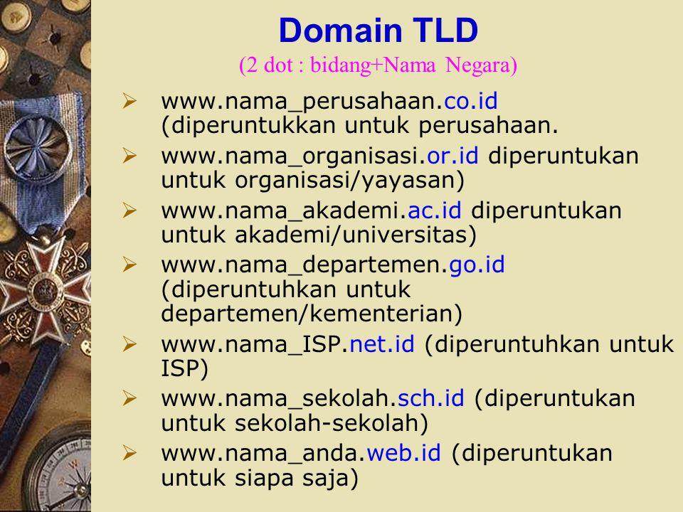 Domain TLD (2 dot : bidang+Nama Negara)  www.nama_perusahaan.co.id (diperuntukkan untuk perusahaan.  www.nama_organisasi.or.id diperuntukan untuk or
