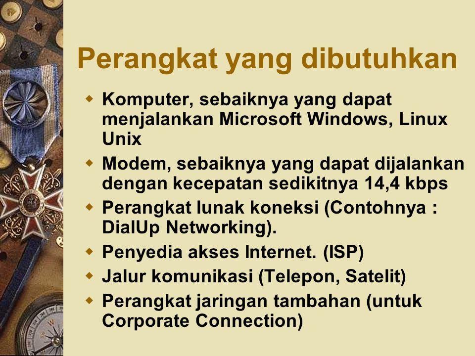 Perangkat yang dibutuhkan  Komputer, sebaiknya yang dapat menjalankan Microsoft Windows, Linux Unix  Modem, sebaiknya yang dapat dijalankan dengan k