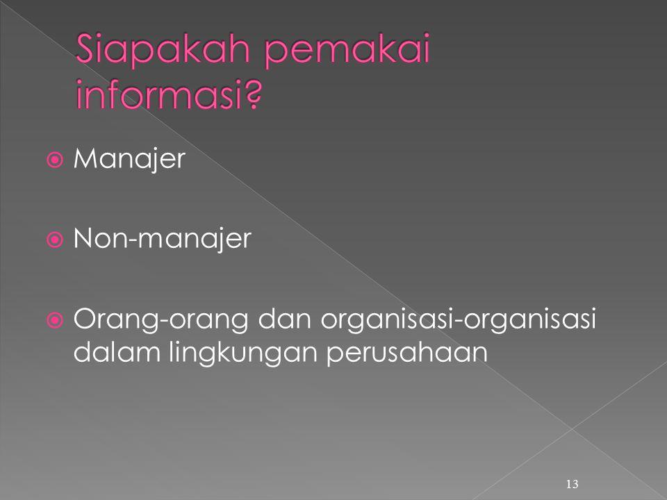  Manajer  Non-manajer  Orang-orang dan organisasi-organisasi dalam lingkungan perusahaan 13