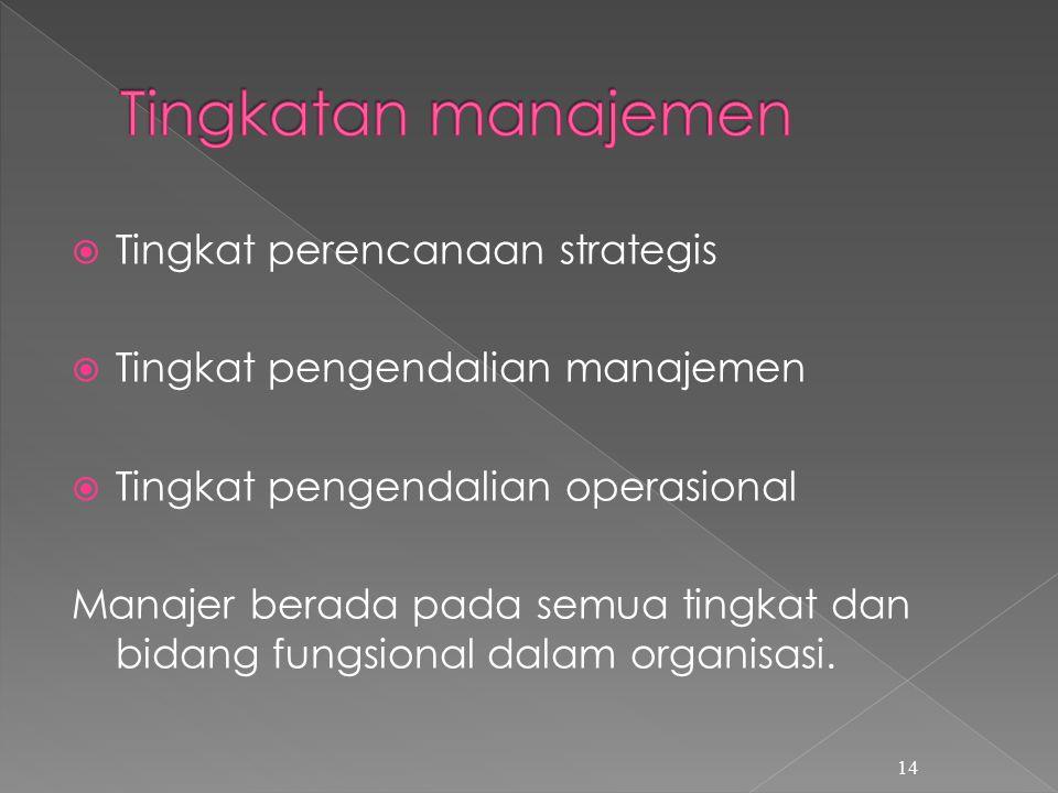  Tingkat perencanaan strategis  Tingkat pengendalian manajemen  Tingkat pengendalian operasional Manajer berada pada semua tingkat dan bidang fungsional dalam organisasi.