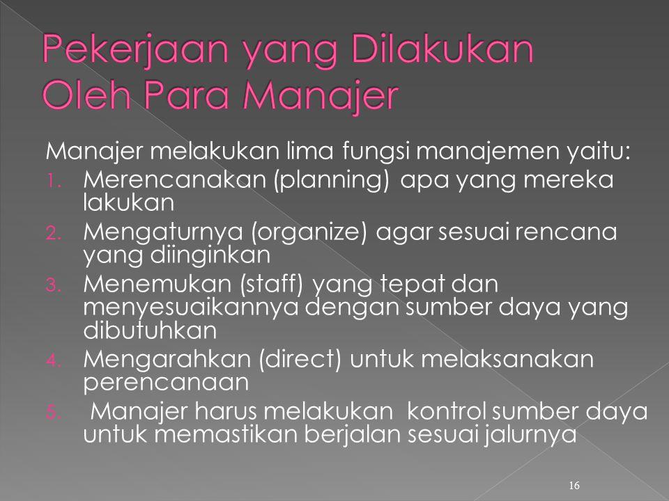 Manajer melakukan lima fungsi manajemen yaitu: 1.