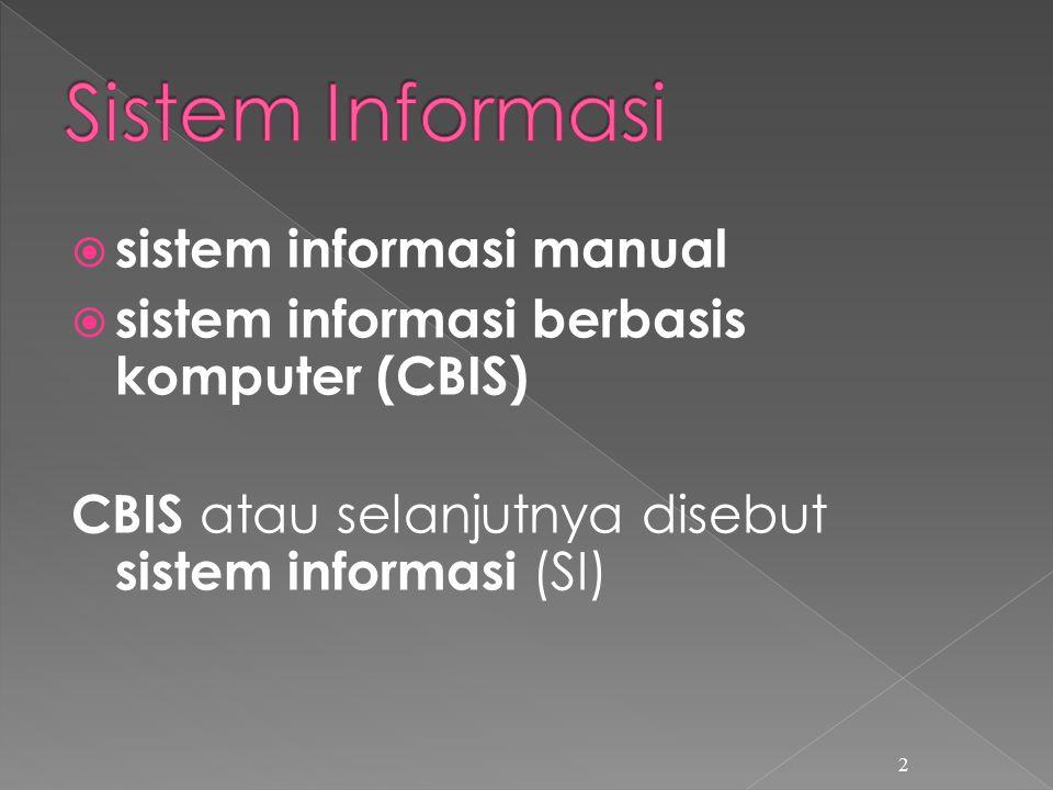  sistem informasi manual  sistem informasi berbasis komputer (CBIS) CBIS atau selanjutnya disebut sistem informasi (SI) 2