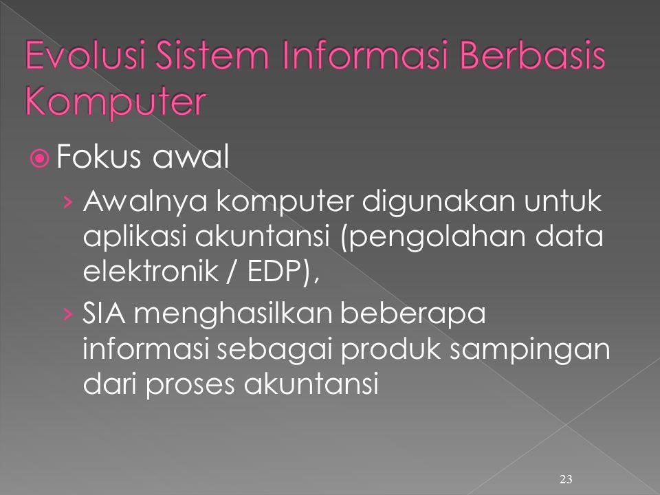  Fokus awal › Awalnya komputer digunakan untuk aplikasi akuntansi (pengolahan data elektronik / EDP), › SIA menghasilkan beberapa informasi sebagai produk sampingan dari proses akuntansi 23