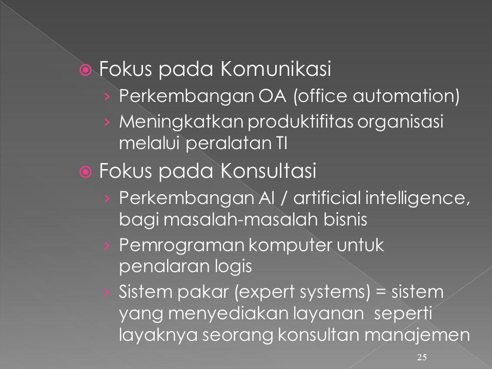  Fokus pada Komunikasi › Perkembangan OA (office automation) › Meningkatkan produktifitas organisasi melalui peralatan TI  Fokus pada Konsultasi › Perkembangan AI / artificial intelligence, bagi masalah-masalah bisnis › Pemrograman komputer untuk penalaran logis › Sistem pakar (expert systems) = sistem yang menyediakan layanan seperti layaknya seorang konsultan manajemen 25