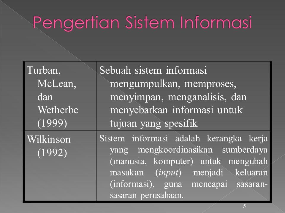 5 Turban, McLean, dan Wetherbe (1999) Sebuah sistem informasi mengumpulkan, memproses, menyimpan, menganalisis, dan menyebarkan informasi untuk tujuan yang spesifik Wilkinson (1992) Sistem informasi adalah kerangka kerja yang mengkoordinasikan sumberdaya (manusia, komputer) untuk mengubah masukan (input) menjadi keluaran (informasi), guna mencapai sasaran- sasaran perusahaan.