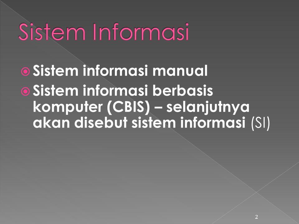  Sistem informasi manual  Sistem informasi berbasis komputer (CBIS) – selanjutnya akan disebut sistem informasi (SI) 2
