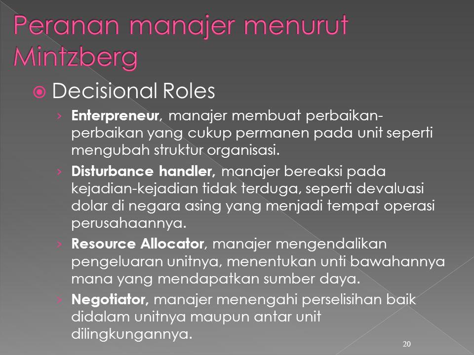  Decisional Roles › Enterpreneur, manajer membuat perbaikan- perbaikan yang cukup permanen pada unit seperti mengubah struktur organisasi.
