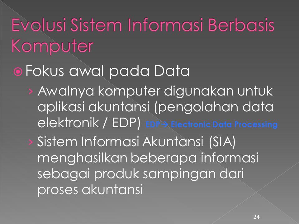  Fokus awal pada Data › Awalnya komputer digunakan untuk aplikasi akuntansi (pengolahan data elektronik / EDP) EDP  Electronic Data Processing › Sistem Informasi Akuntansi (SIA) menghasilkan beberapa informasi sebagai produk sampingan dari proses akuntansi 24