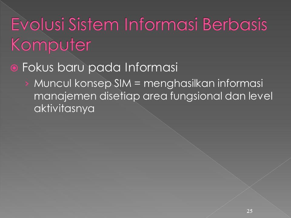  Fokus baru pada Informasi › Muncul konsep SIM = menghasilkan informasi manajemen disetiap area fungsional dan level aktivitasnya 25